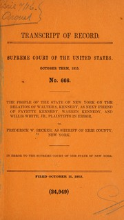 Cover of: Action brought to determine whether the laws of the state of New York were operative over the prisoners, tribal Indians of the Seneca nation | Becker, Frederick W. as sheriff of Erie County, N.Y