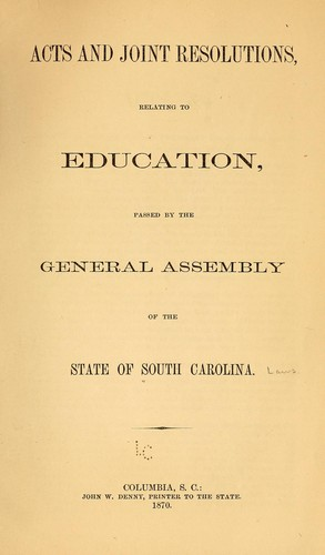Acts and joint resolutions by South Carolina