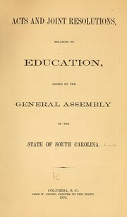 Cover of: Acts and joint resolutions | South Carolina