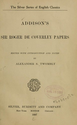 Addison's Sir Roger de Coverley papers by Joseph Addison