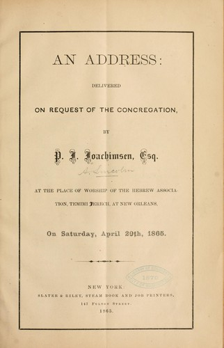 An address: delivered on request of the concregation by P. J. Joachimsen