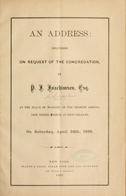 Cover of: An address: delivered on request of the concregation by P. J. Joachimsen