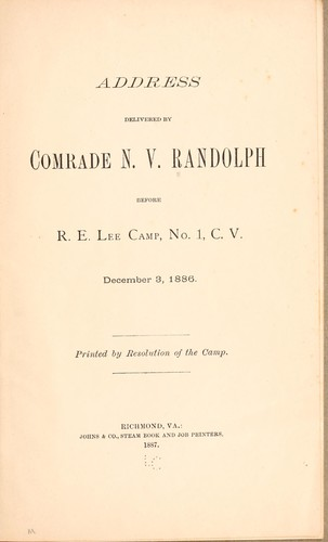 Address delivered by Comrade N. V. Randolph before R. E. Lee camp by N. V. Randolph