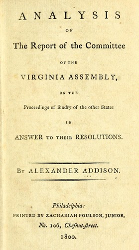 Analysis of the report of the committee of the Virginia assembly by Alexander Addison