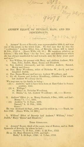 Andrew Elliot, of Beverly, Mass., and his descendants by Whitmore, William Henry