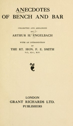 Anecdotes of bench and bar by Arthur Harold Engelbach