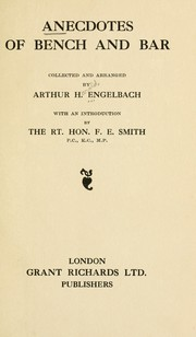 Cover of: Anecdotes of bench and bar | Arthur Harold Engelbach