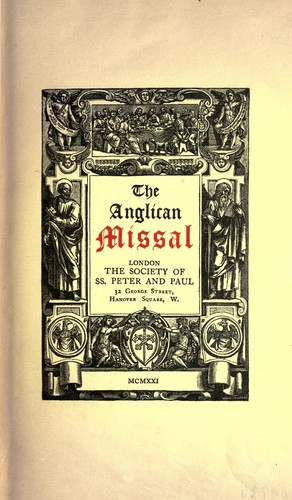 The Anglican missal by Church of England