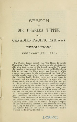 Annual statement respecting the Canadian Pacific Railway by Tupper, Charles Sir