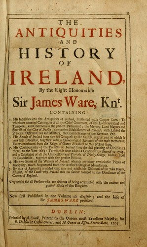 The antiquities and history of Ireland by Ware, James Sir