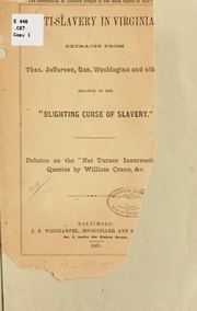 Cover of: ...Anti-slavery in Virginia by William Crane