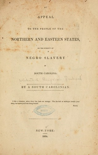 An appeal to the people of the northern and eastern states, on the subject of negro slavery in South Carolina by Whitemarsh Benjamin Seabrook