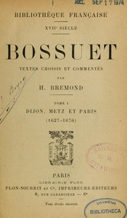Cover of: Bossuet | Jacques Bénigne Bossuet