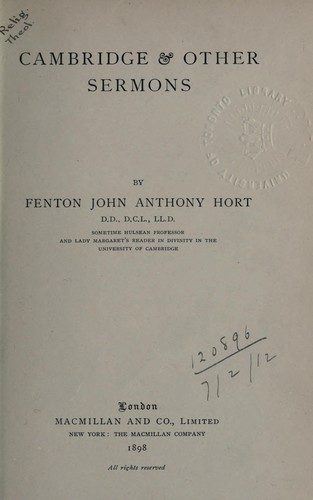 Cambridge and other sermons by Fenton John Anthony Hort