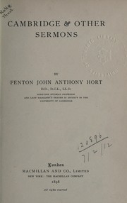 Cover of: Cambridge and other sermons | Fenton John Anthony Hort