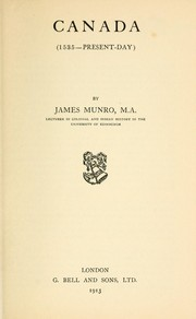 Cover of: Canada (1535--Present-day) by James F. Munro