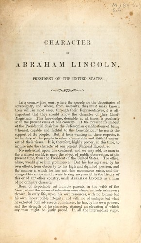 Character of Abraham Lincoln by Hudson, Charles