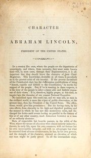 Cover of: Character of Abraham Lincoln | Hudson, Charles