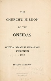 Cover of: The church's mission to the Oneidas | Frank Wesley Merrill