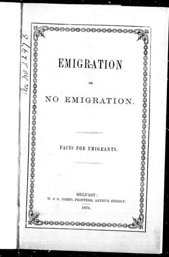 Emigration or no emigration by Charles Foy