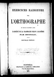 Cover of: Exercices raisonnés sur l'orthographe by Bonneau