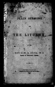 Cover of: Plain sermons on the liturgy | J. W. R. Beck
