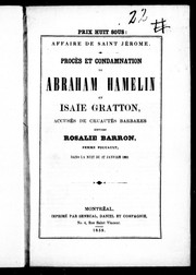 Cover of: Procès et condamnation de Abraham Hamelin et Isaïe Gratton | Abraham Hamelin