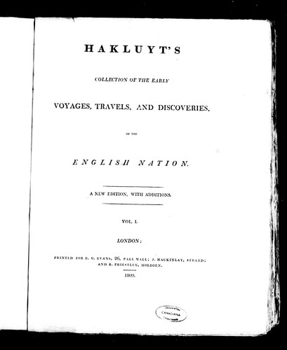 Hakluyt's collection of the early voyages, travels, and discoveries of the English nation by Richard Hakluyt