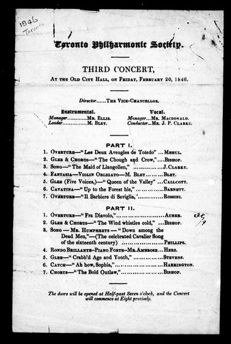 Third concert, at the old City Hall, on Friday, February 20, 1846 by Toronto Philharmonic Society