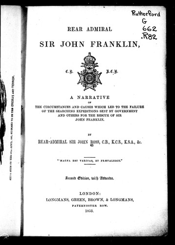 Rear Admiral Sir John Franklin by Sir John Ross
