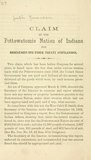 Cover of: Claim of the Pottowatomie nation of Indians for averages due under treaty stipulations | Joseph Bowassa
