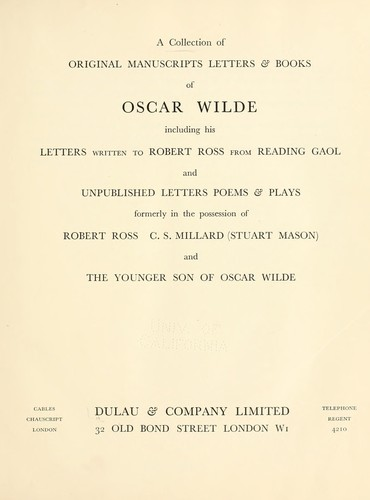 A collection of original manuscripts letters & books of Oscar Wilde by A. Dulau & Co.