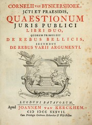 Cover of: Quaestionum juris publici libri duo | Cornelis van Bijnkershoek