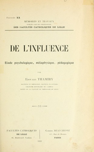 De l'influence by Thamiry, Edouard