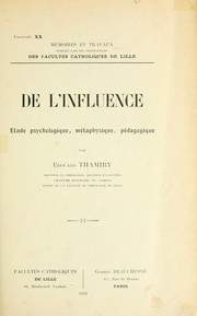 Cover of: De l'influence | Thamiry, Edouard