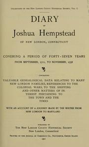 Diary of Joshua Hempstead of New London, Connecticut