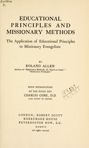 Educational principles and missionary methods by Roland Allen