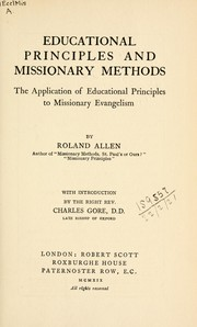 Cover of: Educational principles and missionary methods | Roland Allen