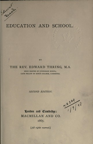 Education and school by Edward Thring