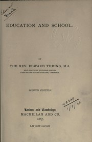 Cover of: Education and school | Edward Thring