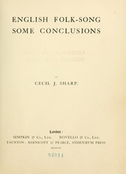 Cover of: English folk song | Cecil J. Sharp