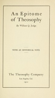 Cover of: An epitome of theosophy | William Quan Judge