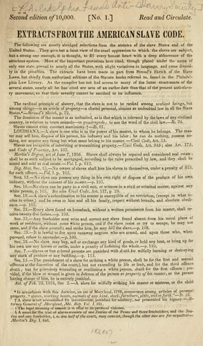 Extracts from the American slave code by Philadelphia Female Anti-slavery Society
