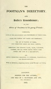 Cover of: The footman's directory, and butler's remembrancer, or The advice of Onesimus to his young friends | Thomas Cosnett