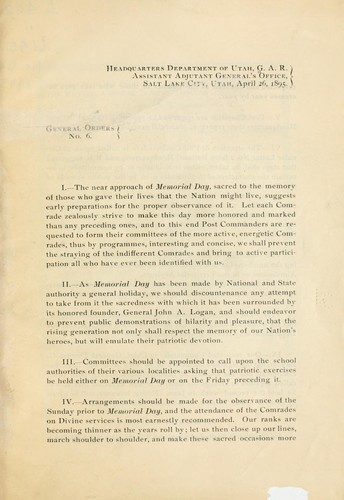 General orders by Grand army of the republic. Dept. of Utah.