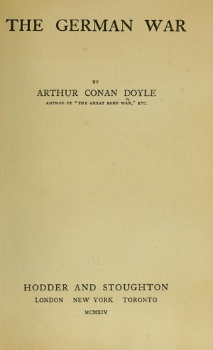 The German war by Sir Arthur Conan Doyle