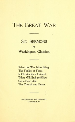 The great war by Washington Gladden