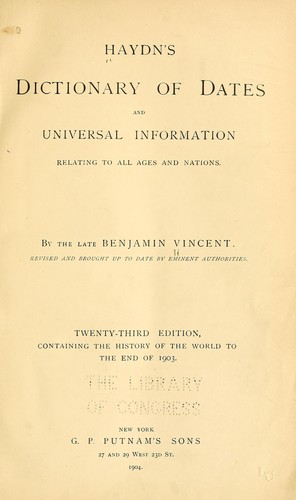 Haydyn's Dictionary of dates and universal information by Joseph Timothy Haydn