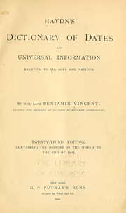 Cover of: Haydyn's Dictionary of dates and universal information by Joseph Timothy Haydn
