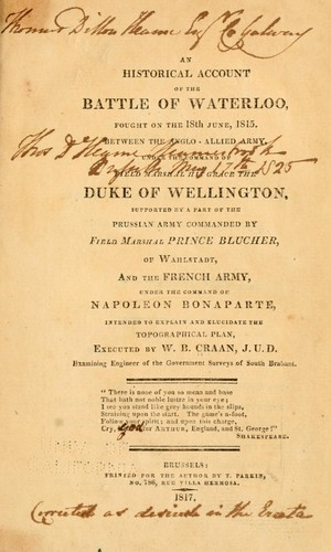 An historical account of the battle of Waterloo by Guillaume Benjamin Craan